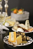 Plate with Assorted Cheese; Fork