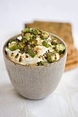 Bowl of Okra Raita with Crackers