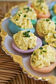 Dyed Crab Meat Deviled Eggs