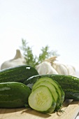 Sliced and Whole Pickling Cucumbers; Garlic