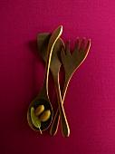 Wooden Utensils; Olives in Spoon