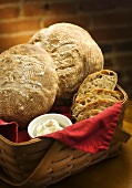 Loaves and Slices of Sourdough Bread in a Basket