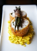 Rabbit Milanese Over Saffron Risotto with Beans in Pancetta
