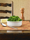 Serving Bowl of Steamed Broccoli on Table