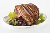 Spiral Ham on a Platter with Grapes