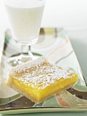Lemon Square with a Glass of Milk