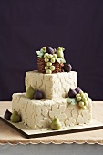 Wedding Cake Decorated with Marzipan Fruit and Leaves