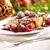 French Toast with Raspberry Sauce and Powdered Sugar