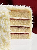 Sliced Coconut Raspberry Layer Cake