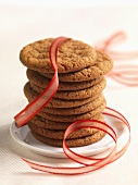 Stack of Ginger Snap Cookies with Ribbon