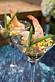 Shrimp Cocktail with Sweet Corn Relish in Glasses