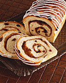 Raisin Cinnamon Swirl Loaf; Partially Sliced