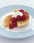 Waffle with Cherry Pie Topping and Lemon Yogurt