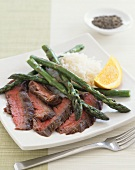 Sliced Seared Steak with Asparagus