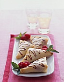 Raspberry Turnovers with Chocolate Sauce