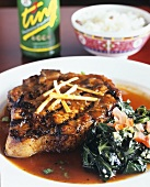 Grilled Pork with Collard Greens