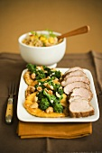 Platter of Pork Tenderloin with Cashew Broccoli