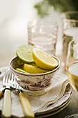 Small Bowl of Lemon and Lime Slices