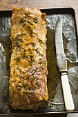 Pork Tenderloin on Pan with Knife