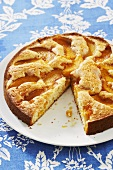 Peach Cake with Slice Removed