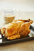 Whole Roast Chicken on Baking Pan