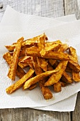 Piel of Sweet Potato Fries on Paper Towels