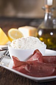 Bowl of Ricotta Cheese with Bresaola