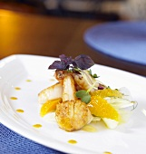 Citrus Shrimp and Scallops with Shaved Fennel and Orange Slaw