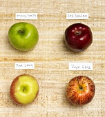 Four Assorted Apples with Labels