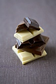 Various Pieces of Stacked Chocolate