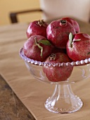 Pomegranates in a Glass Dish