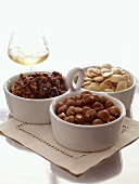 Assorted Nuts in Three Bowl Serving Dish