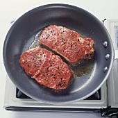 Pan Frying Steak in Skillet