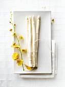White asparagus spears, flowers