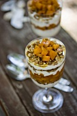 Parfait with Apricots, Walnuts, Honey and Greek Yogurt