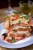 Panzanella a strati (Tomato and bread salad stack, Italy)