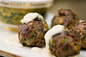 Beef Falafel Meatballs with Yogurt Sauce