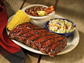 Grilled Baby Back Ribs with Corn and Sides