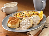 Biscuits and Gravy with Scrambled Egg Bake