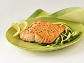 Broiled Salmon Fillet Over Zucchini and Summer Squash
