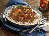 Carne Guisada on Rice; Mexican Beef Stew