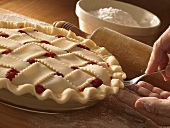 Sealing Edges of Homemade Cherry Pie