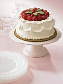 Raspberry Cake on Pedestal Dish