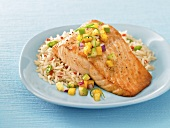Salmon Filet Over Rice with Mango Salsa