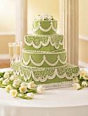 Elegant Green and White Wedding Cake