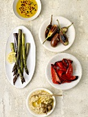 Antipasto; Asparagus, Eggplant, Roasted Peppers, White Bean Dip and Herbed Oil