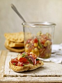 Tomato, Onion, Chickpea and Cucumber Bruchetta on Crusty Bread and in Jar