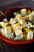 Japanese Rice Salad with Tofu, Vegetables and Roasted Nori
