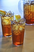 Two Glasses of Iced Tea with Lemon; Pitcher of Iced Tea