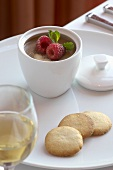 Pots de Creme with Glass of Sauterne Wine